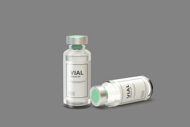 Mockup di fiala di medicina per vetro trasparente
