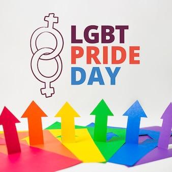 Mockup di gay pride di frecce di carta