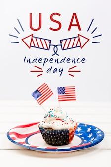 Mockup di giorno di indipendenza con il bigné