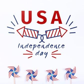 Mockup di giorno di indipendenza piatto laici con copyspace