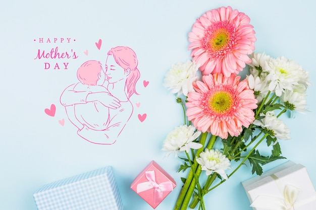 Mockup di giorno di madri con copyspace