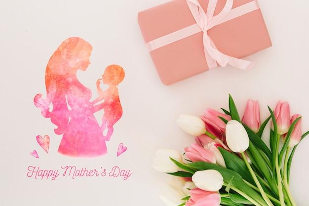 Mockup di giorno di madri floreali
