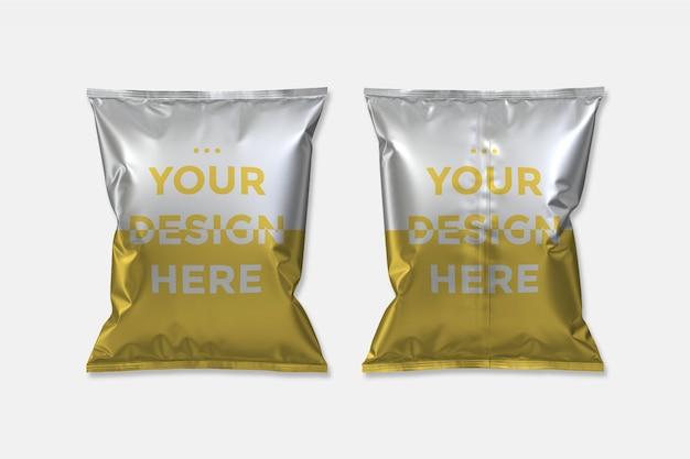 Mockup di imballaggi per alimenti in plastica