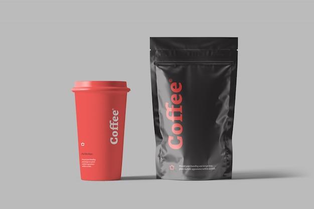 Mockup di imballaggio del sacchetto di caffè
