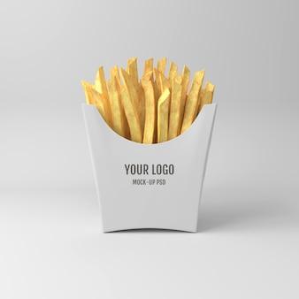 Mockup di imballaggio di patatine fritte