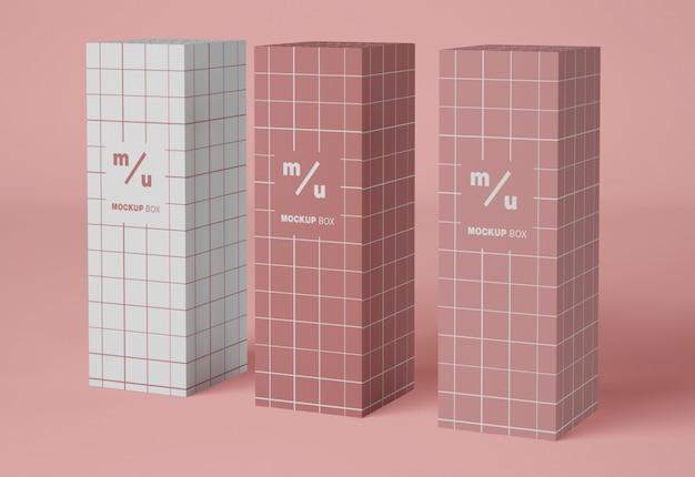 Mockup di imballaggio di tre scatole di carta