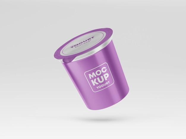 Mockup di imballaggio di yogurt volante