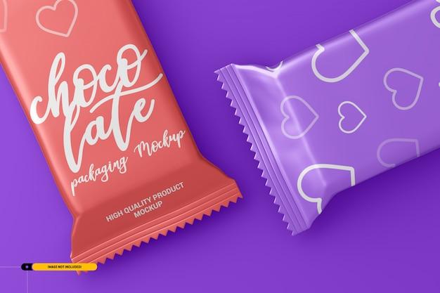 Mockup di imballaggio per snack bar al cioccolato