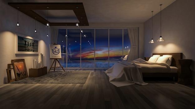 Mockup di interior design con camera da letto durante la notte