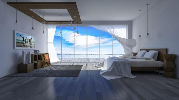 Mockup di interior design con camera da letto moderna