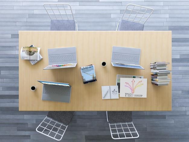 Mockup di interior design con vista dall'alto della scrivania