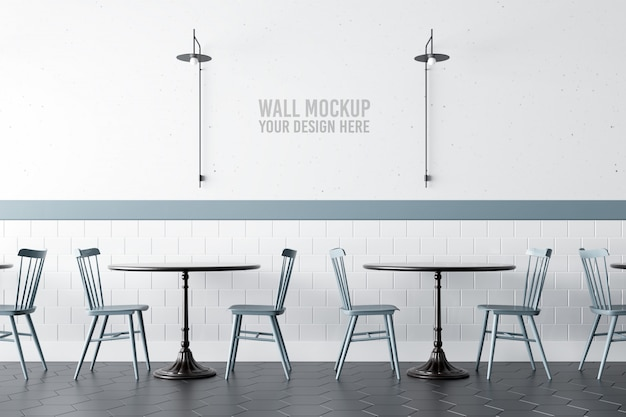 Mockup di interni cafe cafe