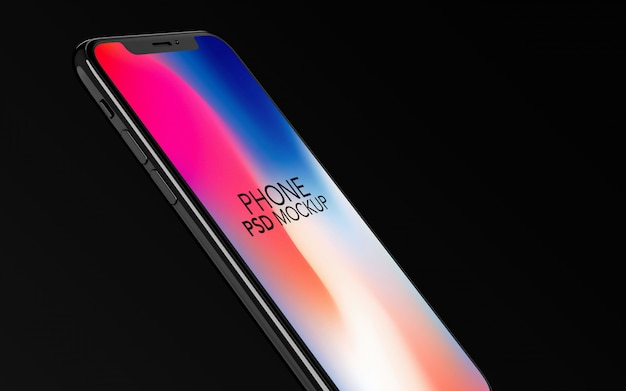 Mockup di iphone x vista laterale psd