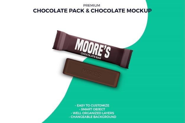 Mockup di lamina di cioccolato e cioccolato