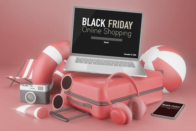 Mockup di laptop con bagagli da viaggio in rendering 3d