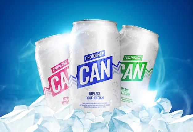 Mockup di lattine di soda con cubetti di ghiaccio
