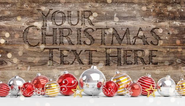 Mockup di legno intagliato con decorazioni natalizie