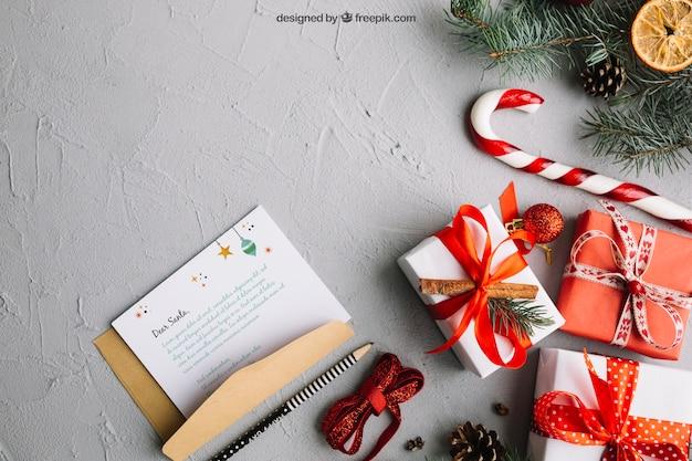 Mockup di lettera elegante con design di natale