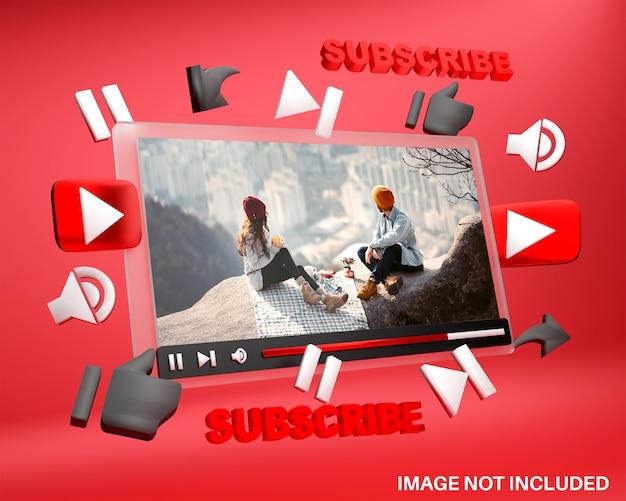 Mockup di lettore multimediale di youtube in stile 3d