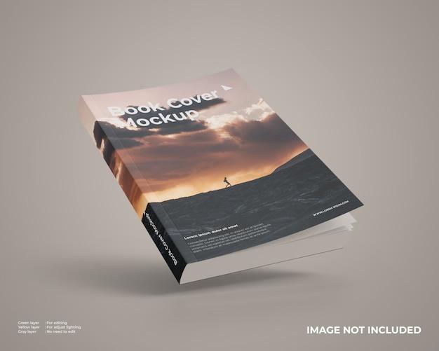 Mockup di libri con copertina morbida volante