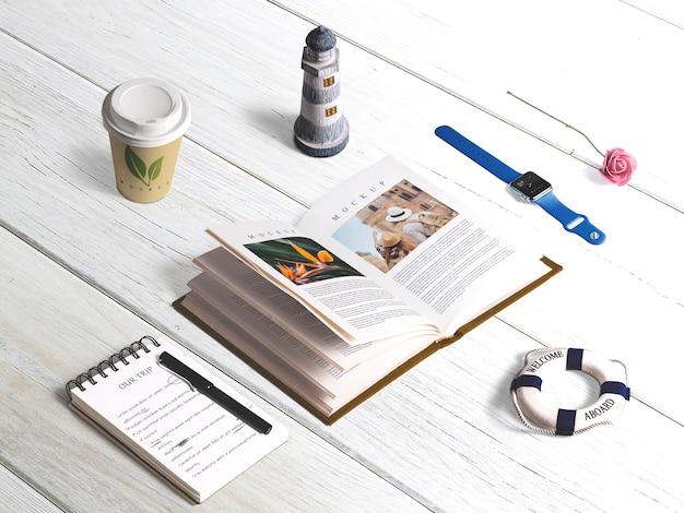Mockup di libro isometrico modificabile con elementi estivi