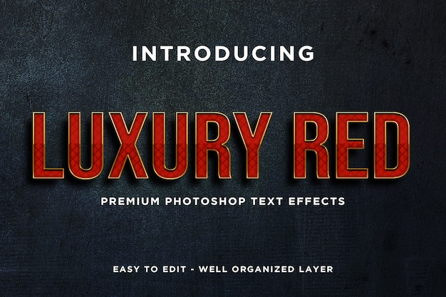 Mockup di lusso con effetto testo rosso premium psd