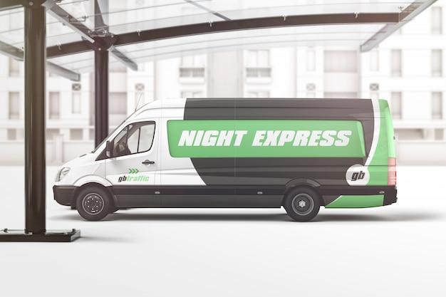 Mockup di marchio del veicolo van