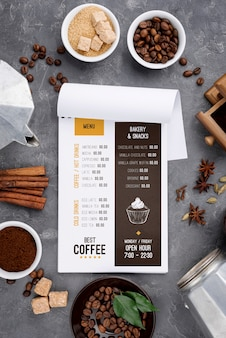 Mockup di menu caffè vista dall'alto