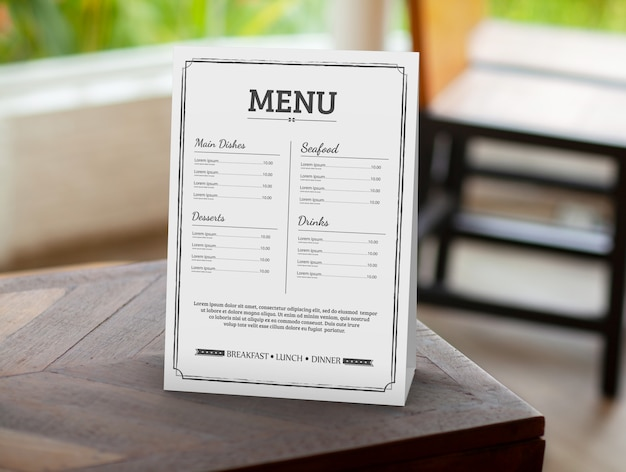 Mockup di menu del ristorante