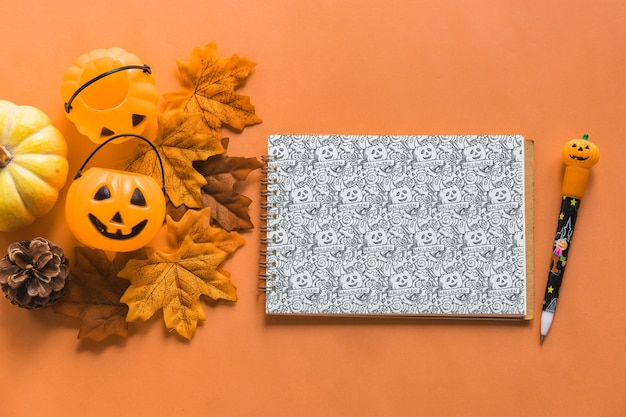 Mockup di notebook di halloween