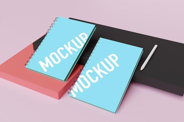 Mockup di notebook per creatore di scene in psd gratuito