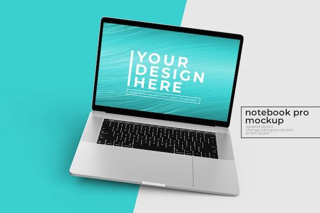 Mockup di notebook realistici di alta qualità personalizzabili nella posizione ruotata a destra
