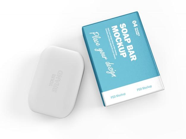 Mockup di packaging design 3d di barra e scatola di sapone rettangolare