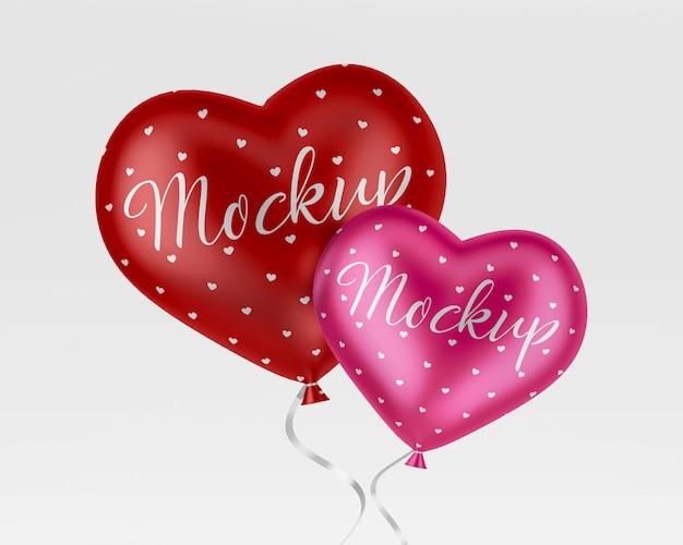 Mockup di palloncini cuore elio