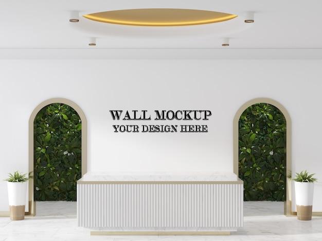 Mockup di parete della hall con reception in stile moderno
