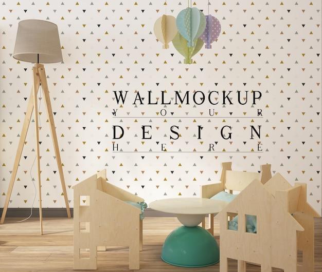 Mockup di parete in graziosi interni della sala giochi per bambini