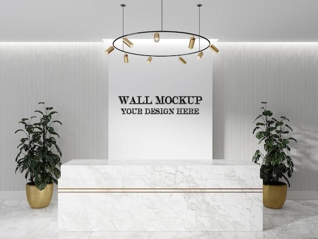 Mockup di parete interna con banco reception in marmo