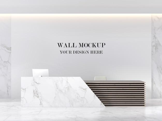 Mockup di parete moderna area reception in marmo