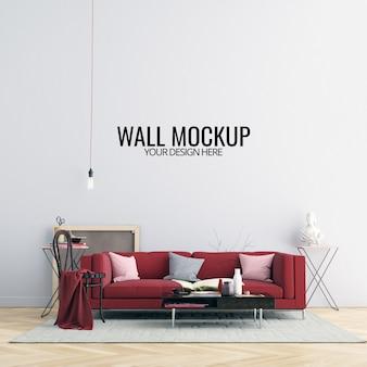 Mockup di pareti interne con mobili e decorazioni