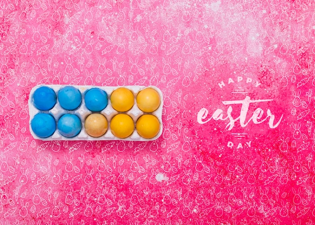 Mockup di pasqua con scatola delle uova