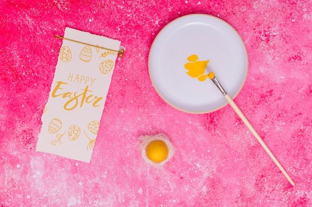 Mockup di pasqua con uova decorate