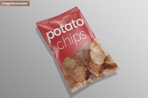 Mockup di patatine fritte con sacchetto