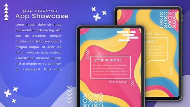 Mockup di pixel creativo perfetto di due dispositivi apple ipad psd mock up