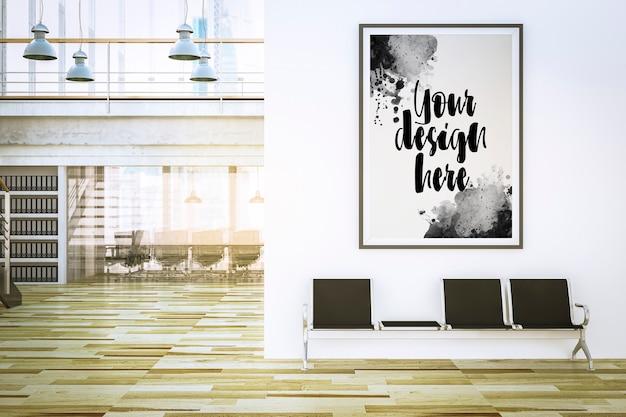 Mockup di poster all'interno della reception dell'ufficio nel rendering 3d