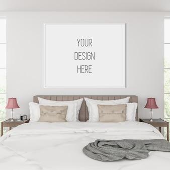 Mockup di poster, camera da letto con cornice orizzontale