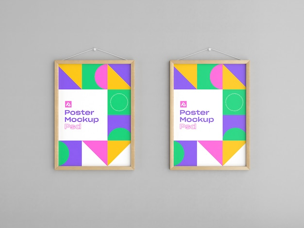 Mockup di poster con cornice in legno