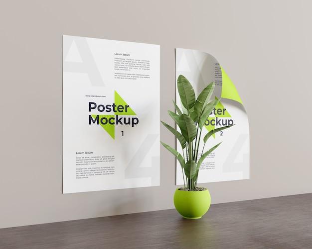 Mockup di poster con pianta nella parte centrale guardare a sinistra