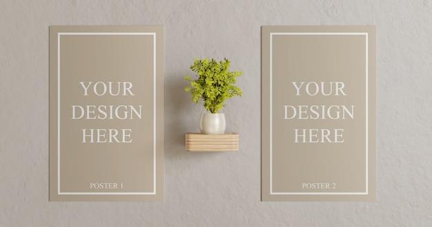 Mockup di poster di coppia sul muro con decorazione vegetale