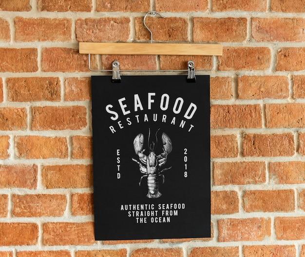 Mockup di poster menu ristorante di pesce