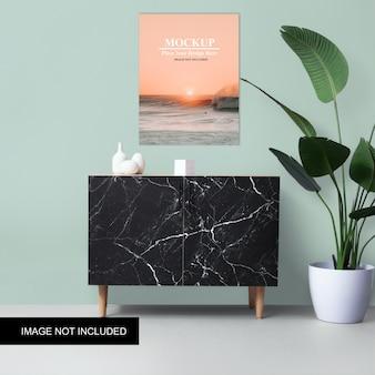 Mockup di poster minimalista muro verde